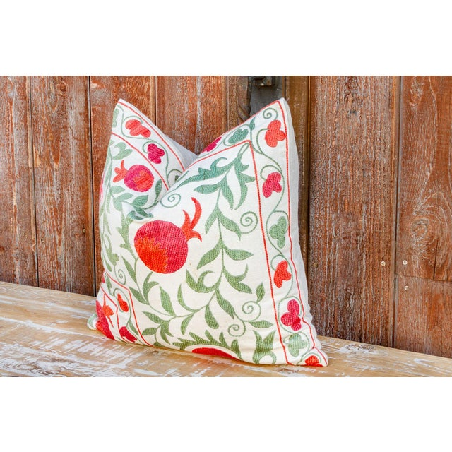 Late 20th Century Remani Pomegranate & Green Ivy Uzbek Suzani Pillow For Sale - Image 5 of 9
