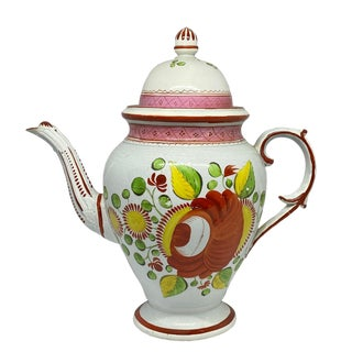 Early 19th Century 19th C. English Gaudy Dutch Soft Paste Porcelain Coffee Pot For Sale