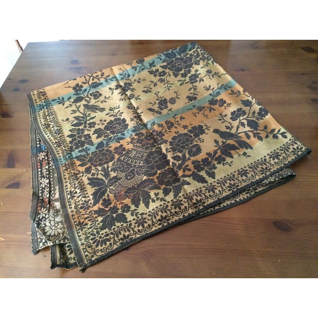 Vintage Tapestry or Table Cloth with Birds - Image 2 of 10