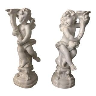 Blanc de Chine Ceramic Cherub Candleholders - a Pair For Sale