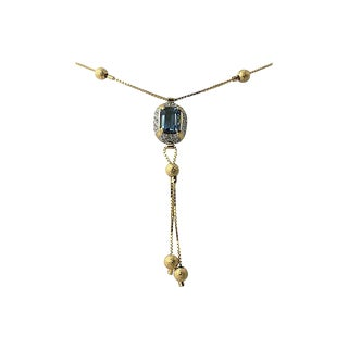 Cz & 18k Gold Lariat Necklace For Sale
