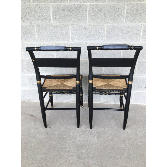 Maple Authentic Hitchcock by Lock Rush Bottom Black Harvest Side Chairs - a Pair For Sale - Image 7 of 9