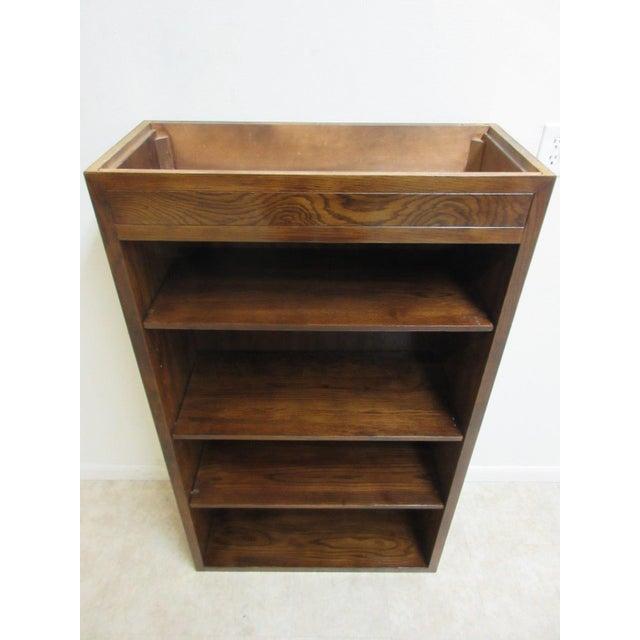 Brown Henredon Oak Campaign Scene One Book Case Dresser For Sale - Image 8 of 8