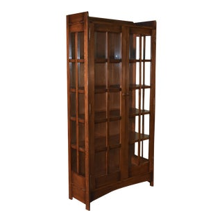 """Crafters and Weavers Mission Oak Display China Cabinet / Bookcase Dark Walnut 39""""w For Sale"""
