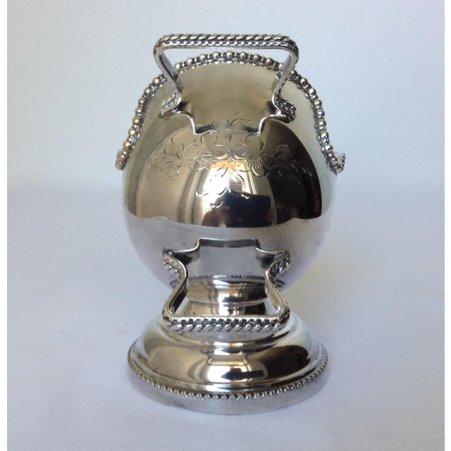 Silver English Silver Plate Salt Cellar with Scoop For Sale - Image 8 of 11