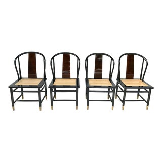 Henredon Black Lacquered and Cane Chairs - Set of 4 For Sale