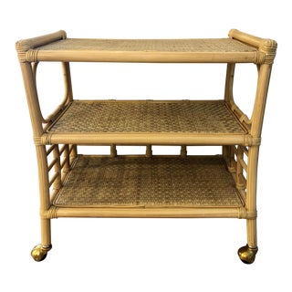 1970s Hollywood Regency Faux Bamboo Indoor Outdoor 3 -iered Bar Cart For Sale