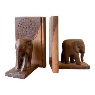 West African Adinkra Symbol Elephant Bookends For Sale