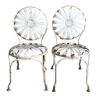 Francois Carre White Iron Sunburst Garden Chairs - a Pair For Sale