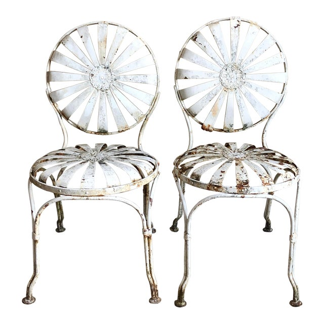 Francois Carre White Iron Sunburst Garden Chairs - a Pair For Sale
