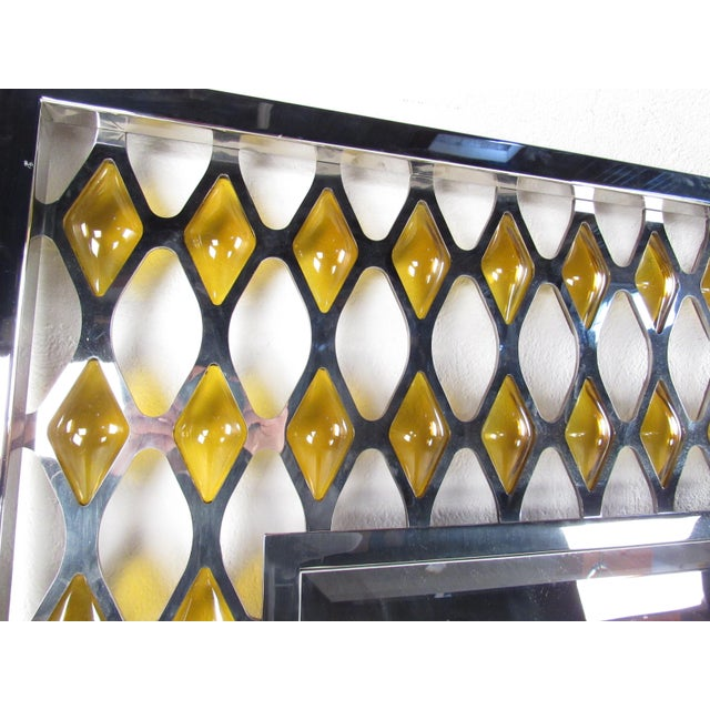 Large Mid-Century Chrome and Amber Blown Glass Mirror For Sale - Image 4 of 8