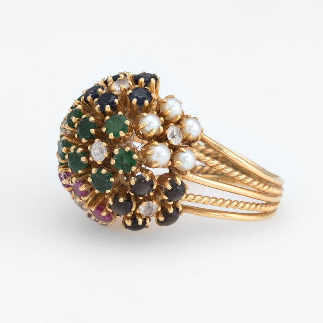 Vintage Dome Cocktail Ring Bombe Flowers 18 Karat Gold Rainbow Gemstones 5 For Sale - Image 4 of 7