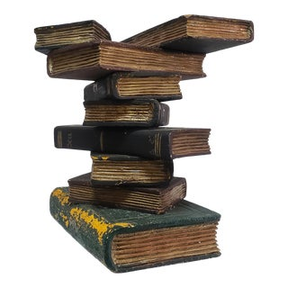 Late 20th Century Carved Wood Faux-Stacked Books Side Table For Sale