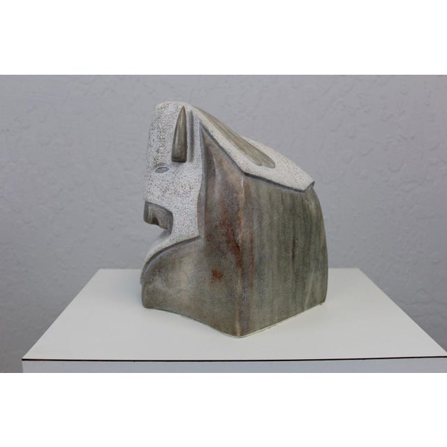 Modern Buffalo Head Sculpture by Victor Vigil For Sale - Image 3 of 7