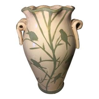 Vintage Carved Ceramic Art Studio Jar For Sale
