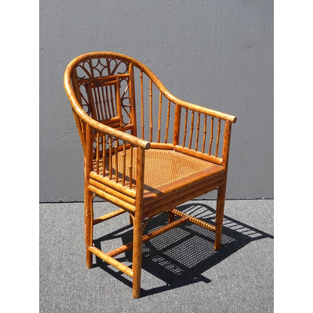 Vintage Chinoiserie Brighton Pavillion Style Rattan Bamboo & Cane Arm Chair For Sale - Image 4 of 11