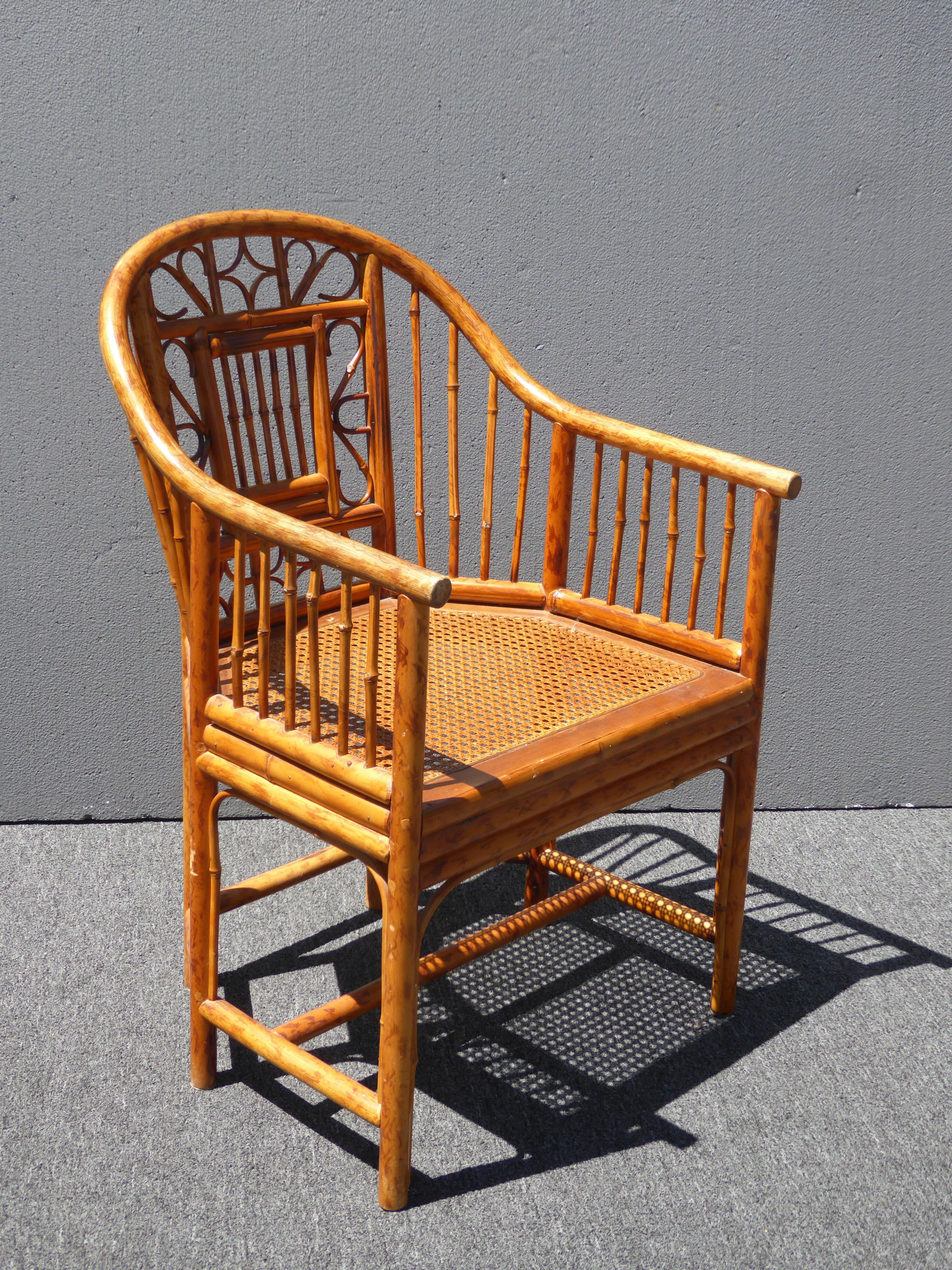 Vintage Chinoiserie Brighton Pavillion Style Rattan Bamboo U0026 Cane Arm Chair  For Sale   Image 4