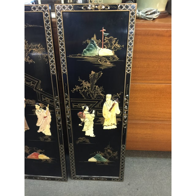 Stunning set of four wall panels with hardstone decoration, each piece hand carved with a vast array of colored stones on...