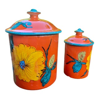 Studio Art Pottery Stoneware Canister Set – a Pair For Sale