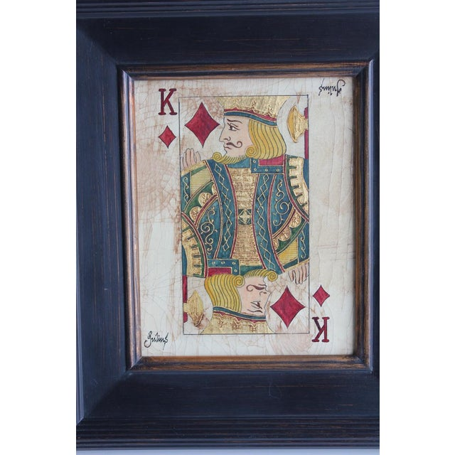 Folk Art Queen & King Game Cards Oil Paintings by Julius - Image 4 of 4