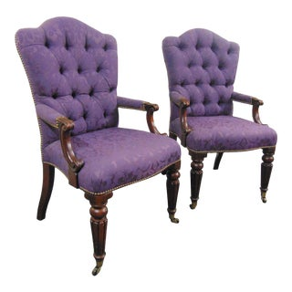 Henredon Regency Style Tufted Purple Arm Chairs - a Pair For Sale