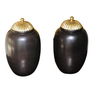 Maitland-Smith Handmade Brass Capped Bronze Urns - A Pair For Sale