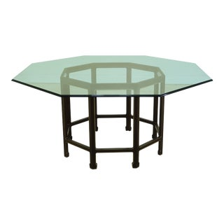 Kindel Octagonal Glass Top Dining Room Table For Sale