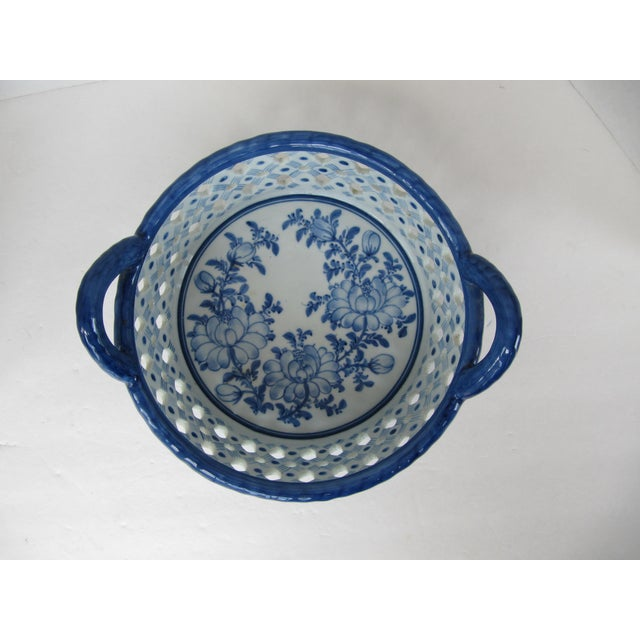 Blue & White Chinoiserie Bowl With Handles For Sale - Image 4 of 4