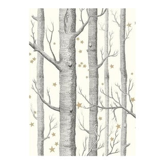 Cole & Son Woods & Stars Wallpaper Roll - Black & White For Sale