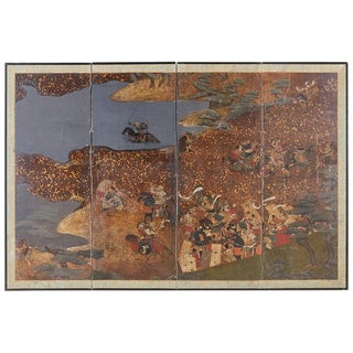 Japanese Four-Panel Edo Screen Battle of Yashima For Sale