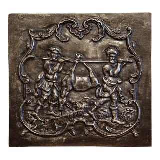19th Century French Polished Iron Hunt Scene Fireback For Sale