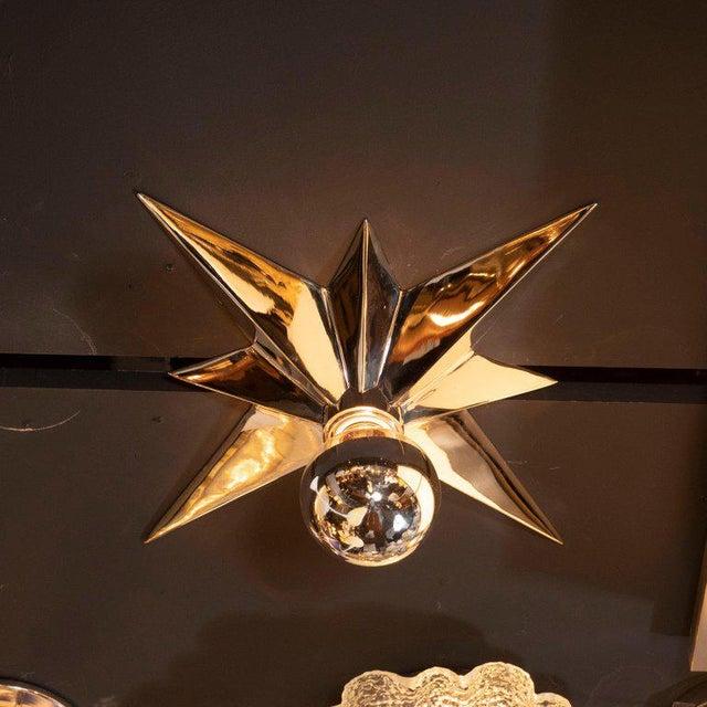 1980s Mid-Century Modern Polished Nickel Star Flush Mounts - Set of 4 For Sale - Image 5 of 10