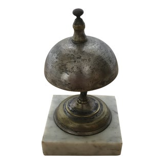 Sliver Metal Service Bell With Marble Base For Sale