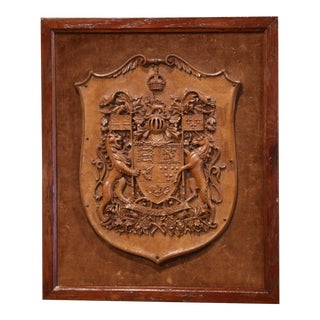 19th Century French Carved Walnut Royal Coat of Arms of Canada For Sale