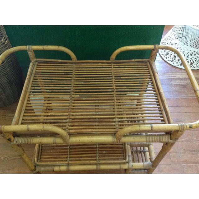 Vintage Rattan Bar Cart - Image 3 of 5