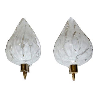 Pair of La Murrina Murano White and Clear Glass Leaf Wall Sconces For Sale