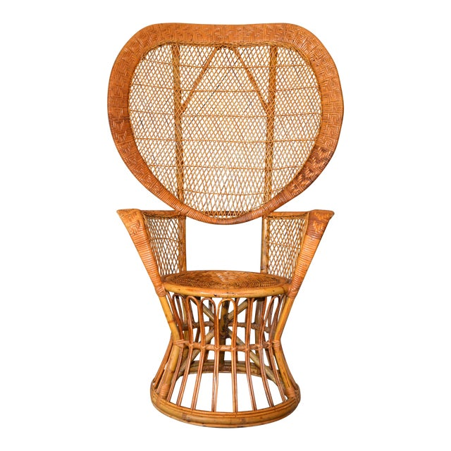Vintage Boho Chic Handcrafted Wicker, Rattan and Reed Peacock High Back Chair For Sale