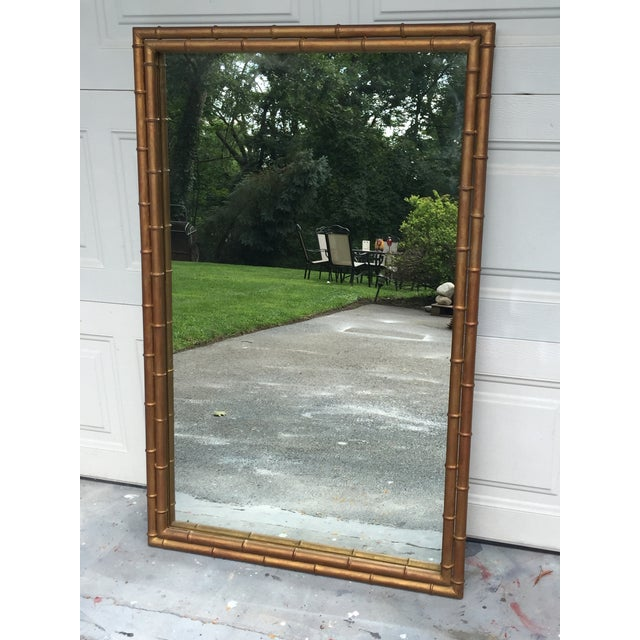 Asian 1970s Hollywood Regency Gilt Faux Bamboo Large Mirror For Sale - Image 3 of 8