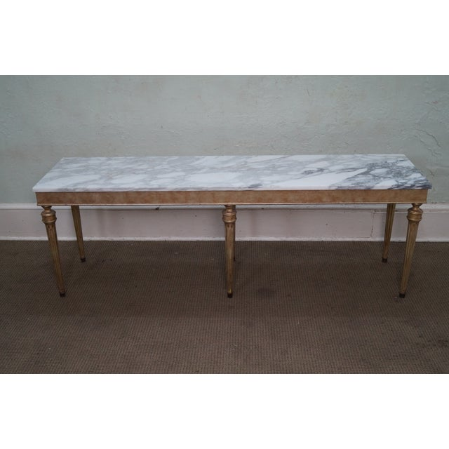 Vintage Silver Gilt Marble Top Console Table - Image 5 of 10