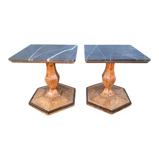 Black Marble & Burl-Wood Pentagon PairAccent Tables For Sale