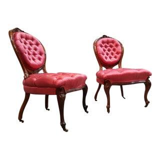 Fine Victorian Carved Walnut Slipper Chairs