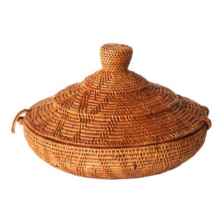 Small Bali Basket With Lid Handwoven For Sale
