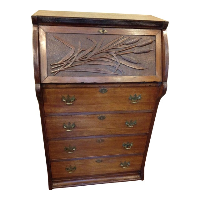Handmade Carved Slant Desk with the ID of John Hall, Quincy, Mass For Sale