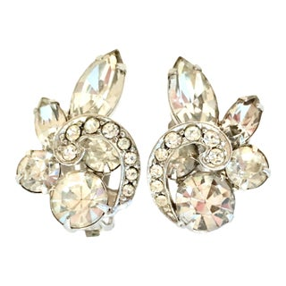 20th Century Eisenberg Silver & Swarovski Crystal Earrings - a Pair For Sale