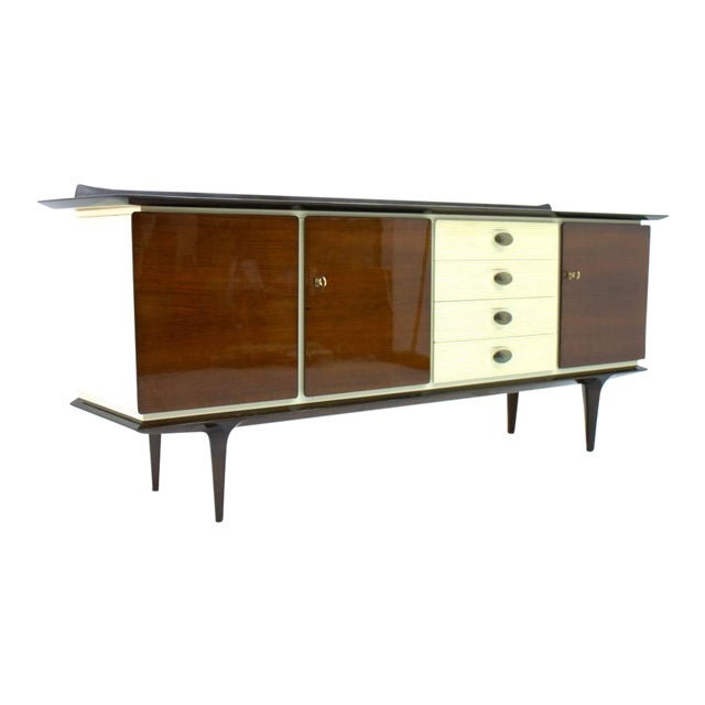 Mahogany and Brass Sideboard, Germany 1950s For Sale
