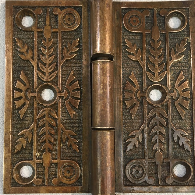 Victorian Antique Victorian Eastlake Brass Door Hinge For Sale - Image 3 of 11