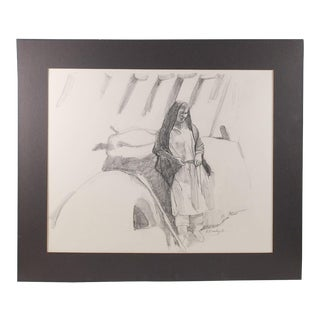 Pencil Portrait Pueblo Woman For Sale