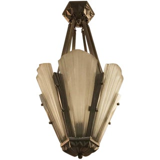 French Art Deco Round Chandelier Signed by Degue For Sale