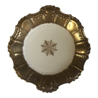 1940s Limoges China Plate With Gold Luster For Sale