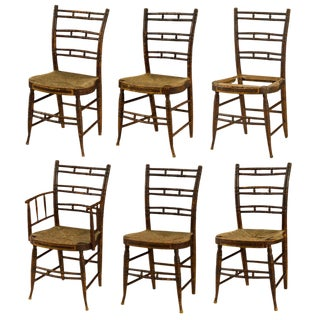 Set of 6 Rare Federal Painted Fancy Chairs Circa 1820s